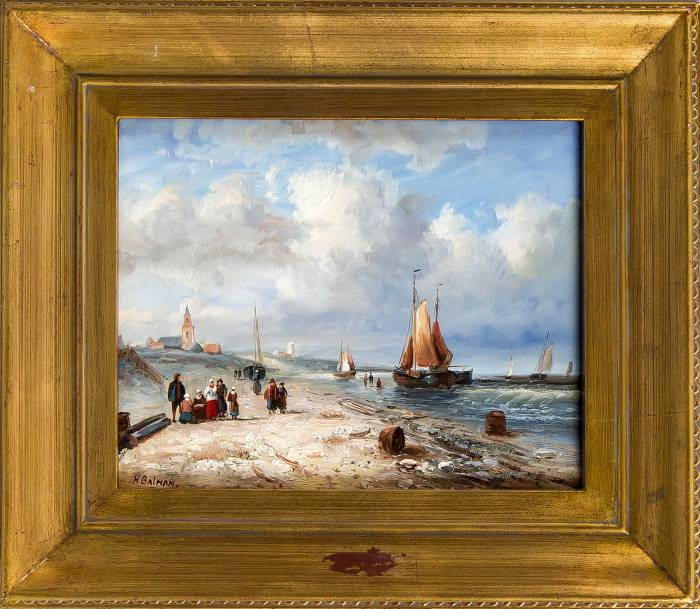 Schilderij, vissersschepen