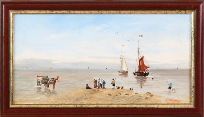 Schilderij, botters op zee
