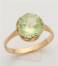 Ring solitair, lichtgroen GG