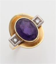 Gouden Art Deco ring met amethist en diamant
