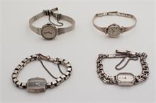 4 Zilveren dames polshorloges