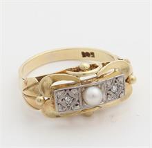 Art Deco Gouden ring met diamant en parel