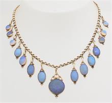 Goud op zilver collier, blauwe stenen
