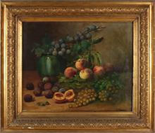 L. Hubert, Stilleven vaas en fruit