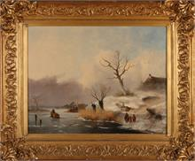J.F. Hoppenbrouwers, Hollands wintergezicht met ijspret